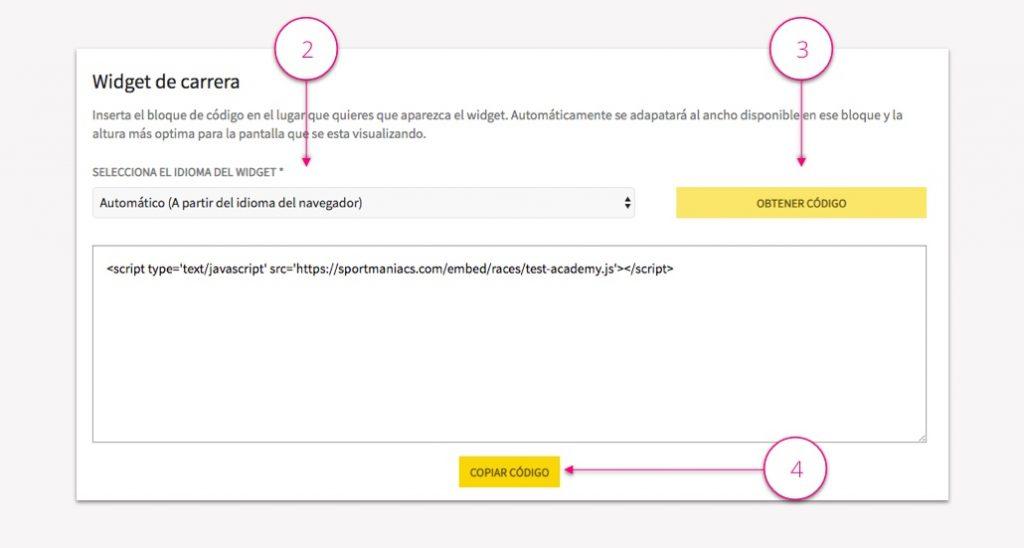 Incrustar clasificaciones en una web - Pasos 2-3-4