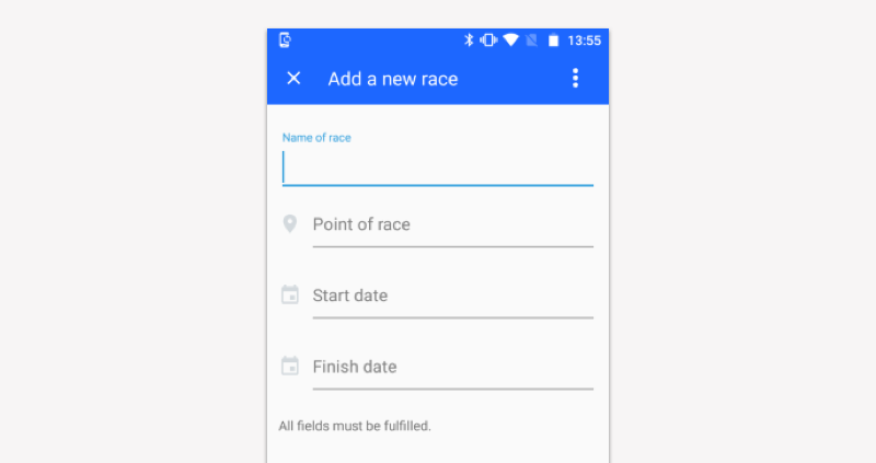 Creating a race from the TSPortable app - Step2