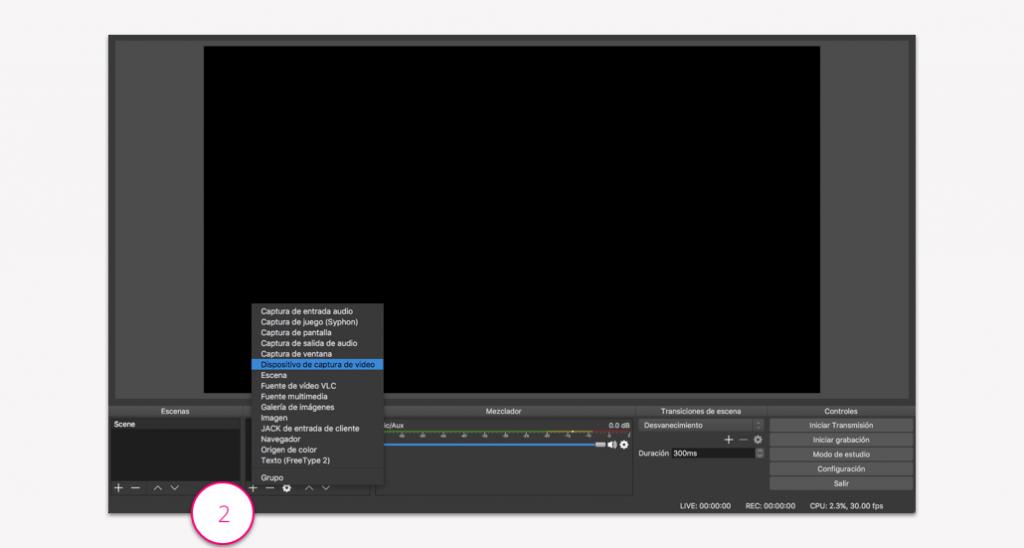 Conectar una webcam en OBS - Paso 2