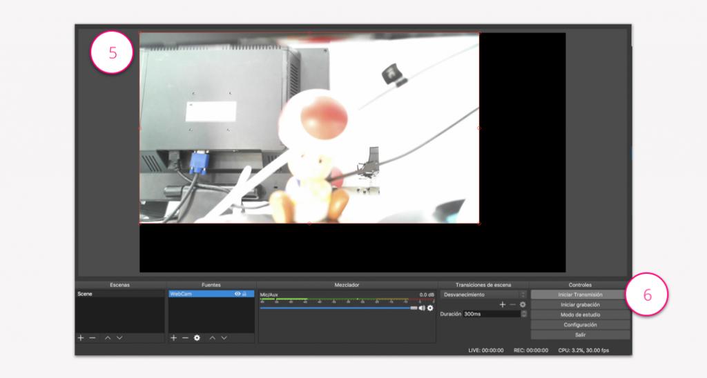 Conectar una webcam en OBS - Pasos 5 y 6