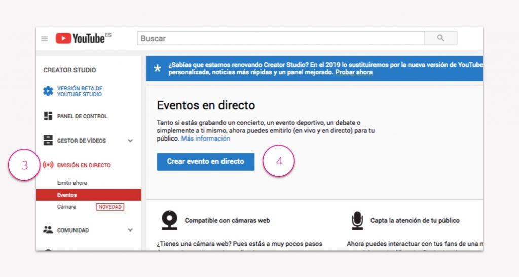 Configuración para emitir en directo a través de YouTube - Pasos 3 y 4