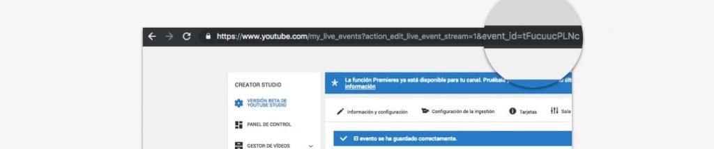 Configuración para emitir en directo a través de YouTube - URL ID