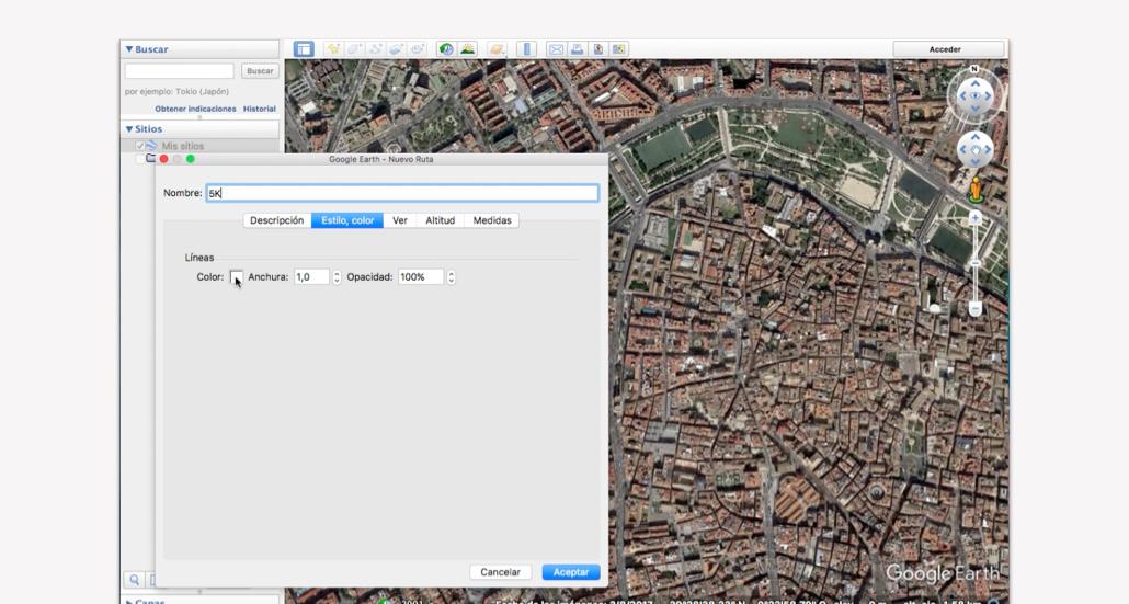 Trazar recorrido carrera en Google Earth - Pasos 4 y 5