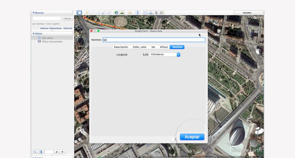 Trazar recorrido en Google Earth - Paso 8