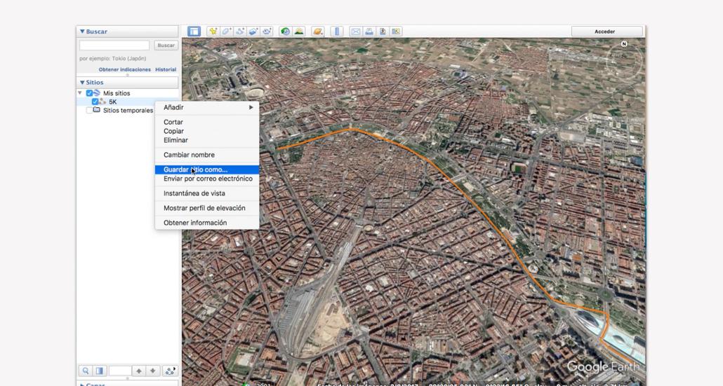 Trazar recorrido en Google Earth - Paso 9