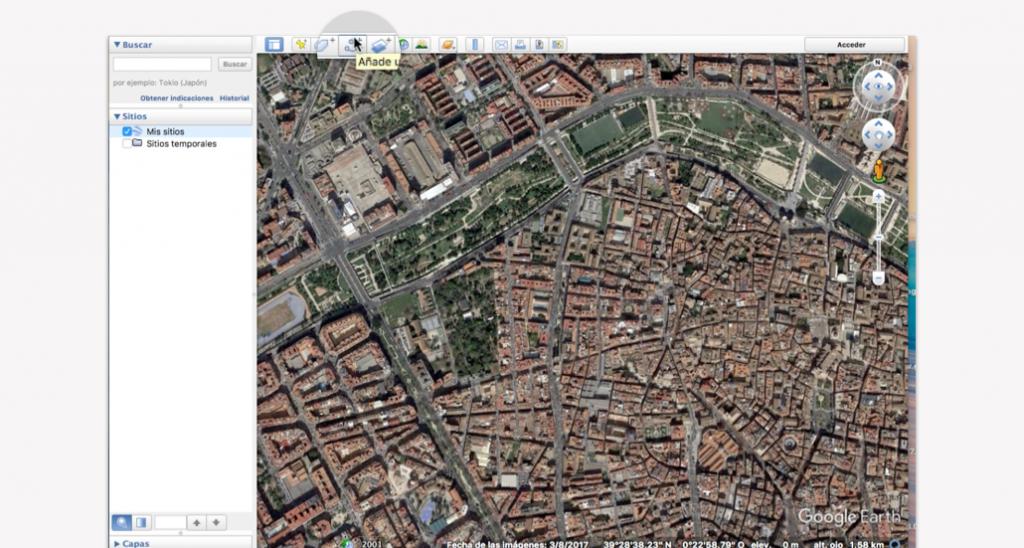 Trazado del recorrido en Google Earth para un triatlón - Pasos 1 y 2