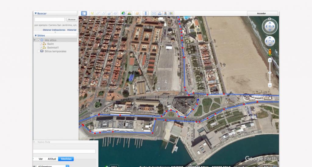 Trazado del recorrido en Google Earth para un triatlón - Paso 9