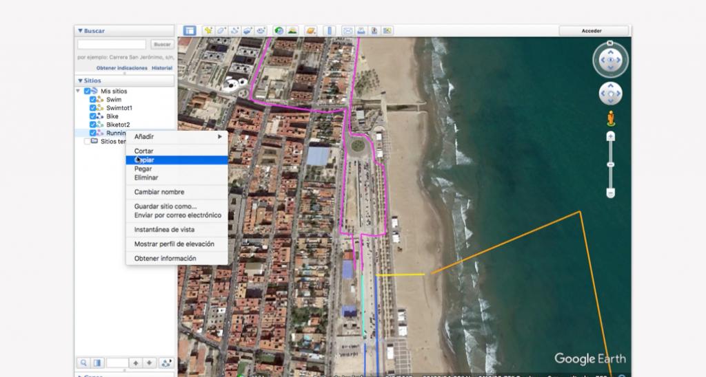 Trazado del recorrido en Google Earth para un triatlón - Paso 10