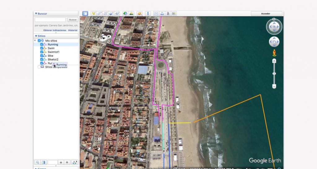 Trazado del recorrido en Google Earth para un triatlón - Paso 11