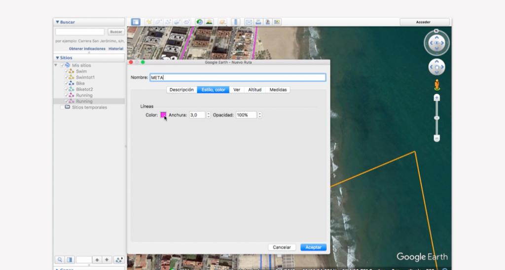 Trazado del recorrido en Google Earth para un triatlón - Paso 12