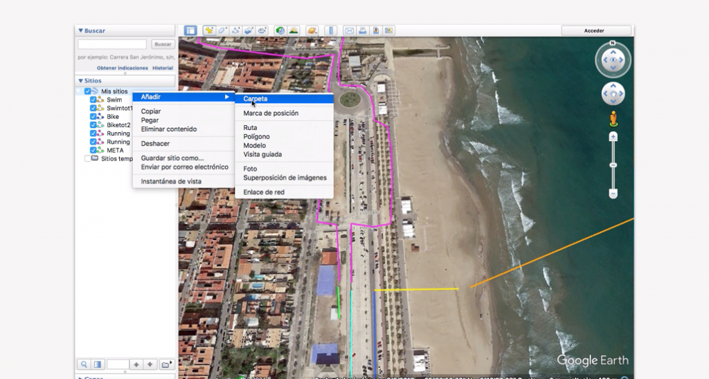 Trazado del recorrido en Google Earth para un triatlón - Paso 13