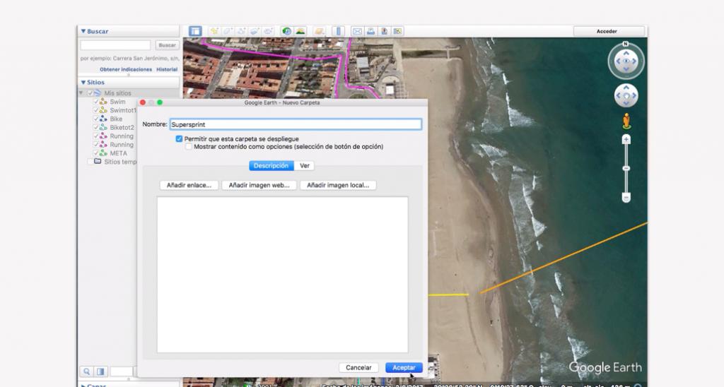 Trazado del recorrido en Google Earth para un triatlón - Paso 14