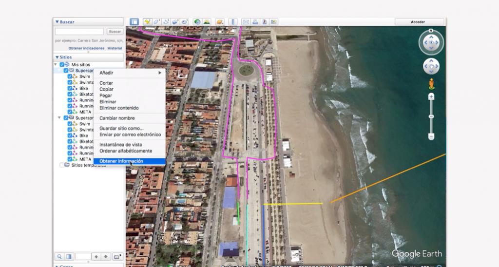 Trazado del recorrido en Google Earth para un triatlón - Paso 15
