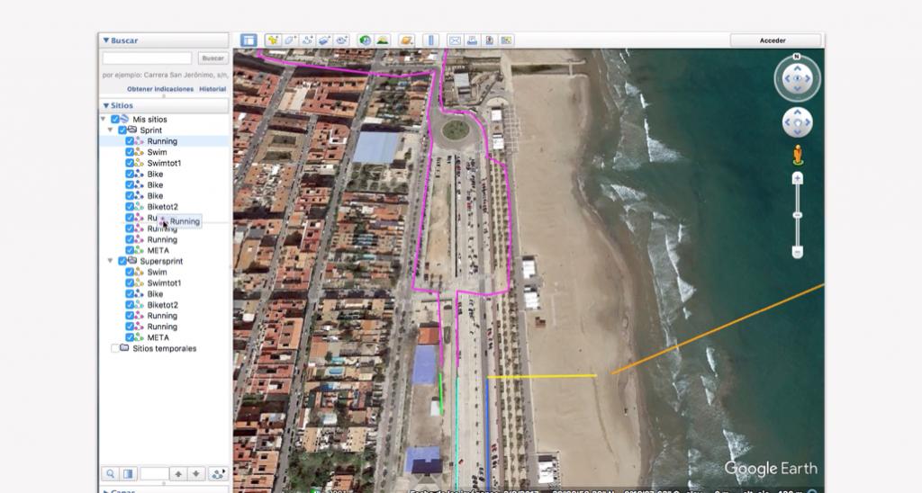 Trazado del recorrido en Google Earth para un triatlón - Paso 16