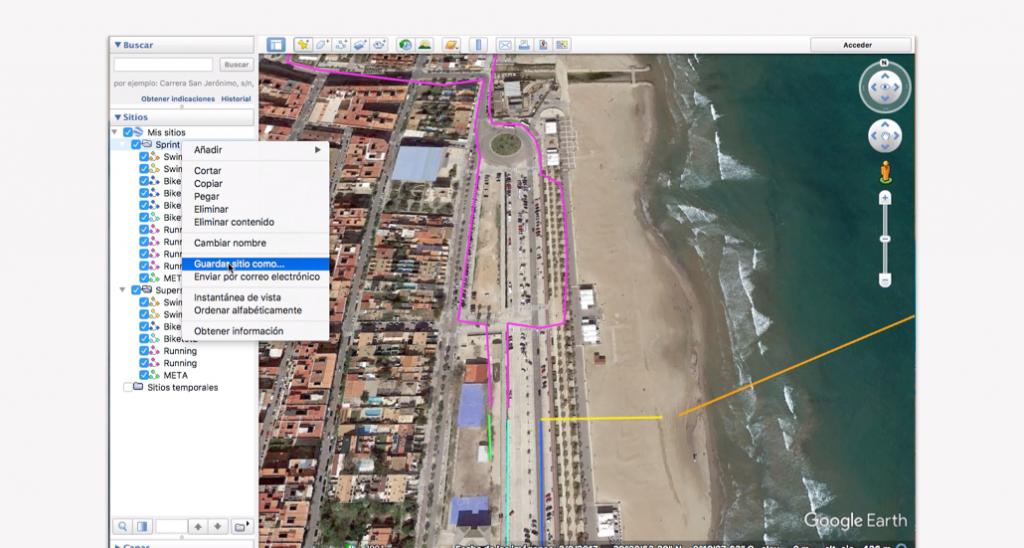 Trazado del recorrido en Google Earth para un triatlón - Paso 17