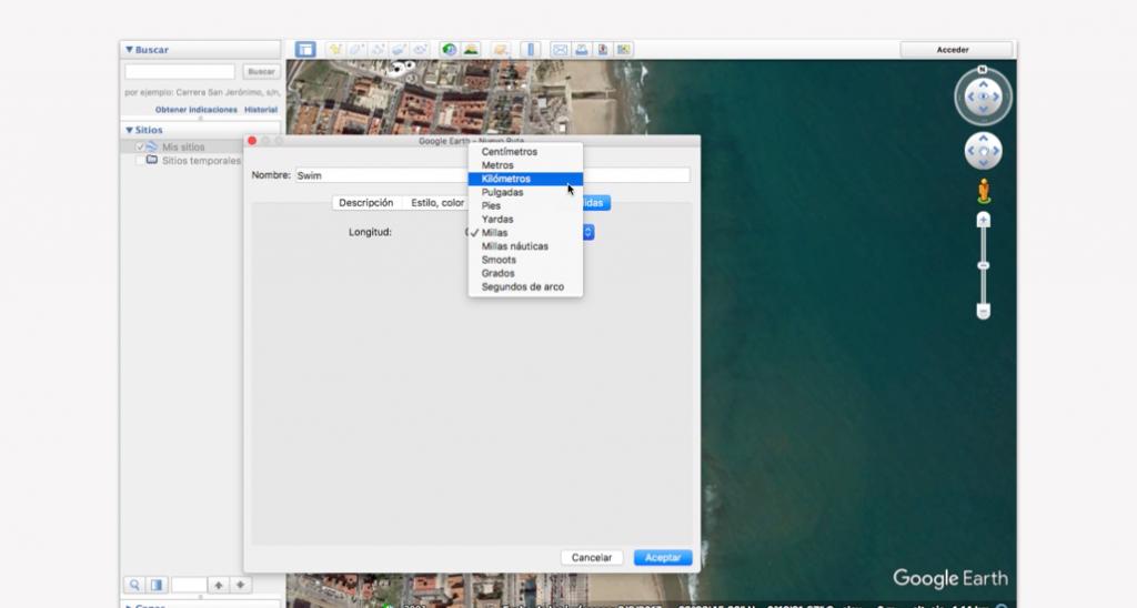 Trazado del recorrido en Google Earth para un triatlón - Paso 6