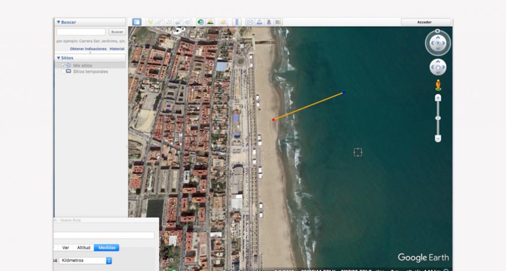 Trazado del recorrido en Google Earth para un triatlón - Paso 7