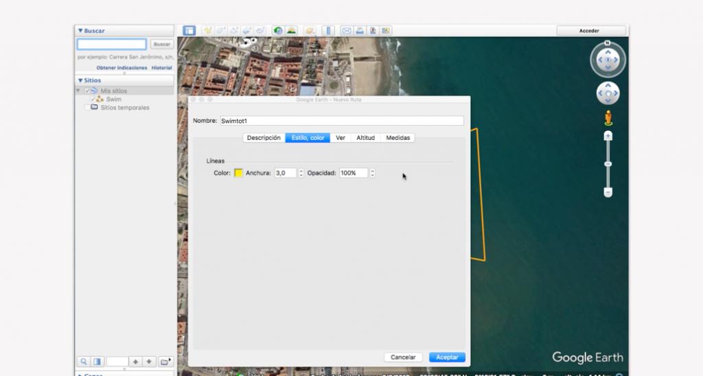 Trazado del recorrido en Google Earth para un triatlón - Paso 8